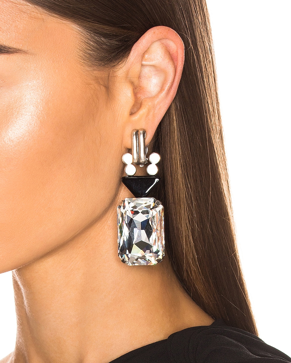Image 2 of Saint Laurent Crystal Stone Clip Earrings in Silver & Black