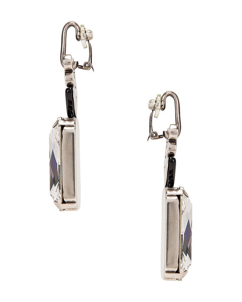 Image 3 of Saint Laurent Crystal Stone Clip Earrings in Silver & Black