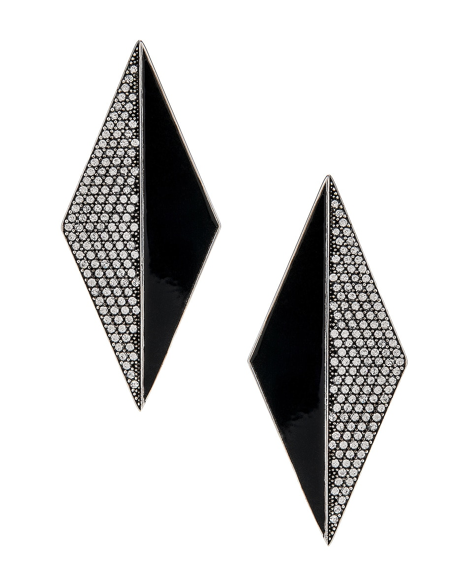 Image 1 of Saint Laurent Diamond Earrings in Silver & Crystal