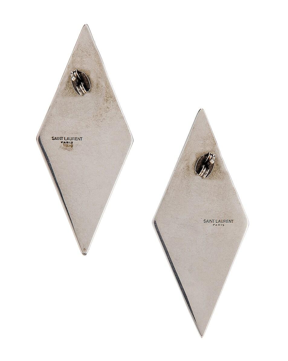 Image 4 of Saint Laurent Diamond Earrings in Silver & Crystal