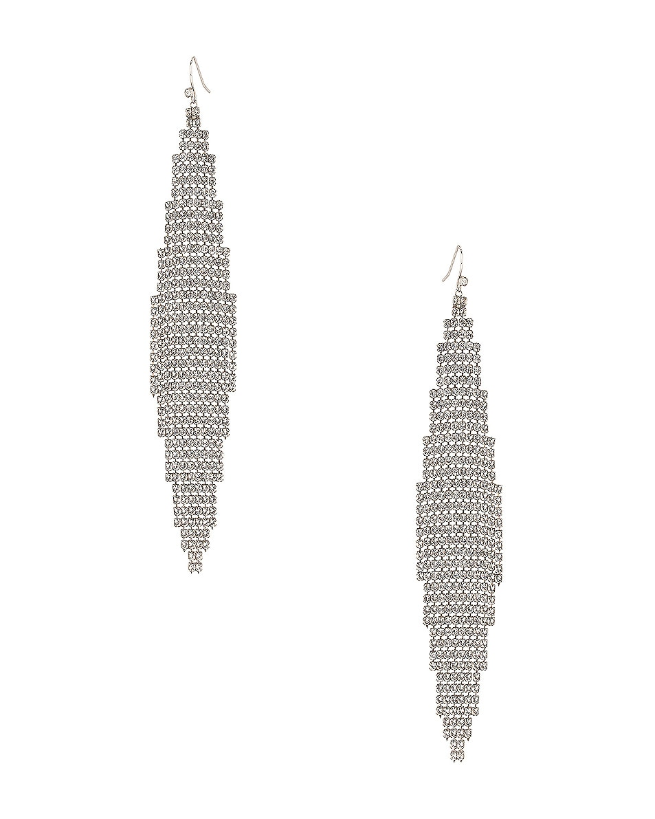 Image 1 of Saint Laurent Mesh Chandelier Earrings in Silver & Crystal