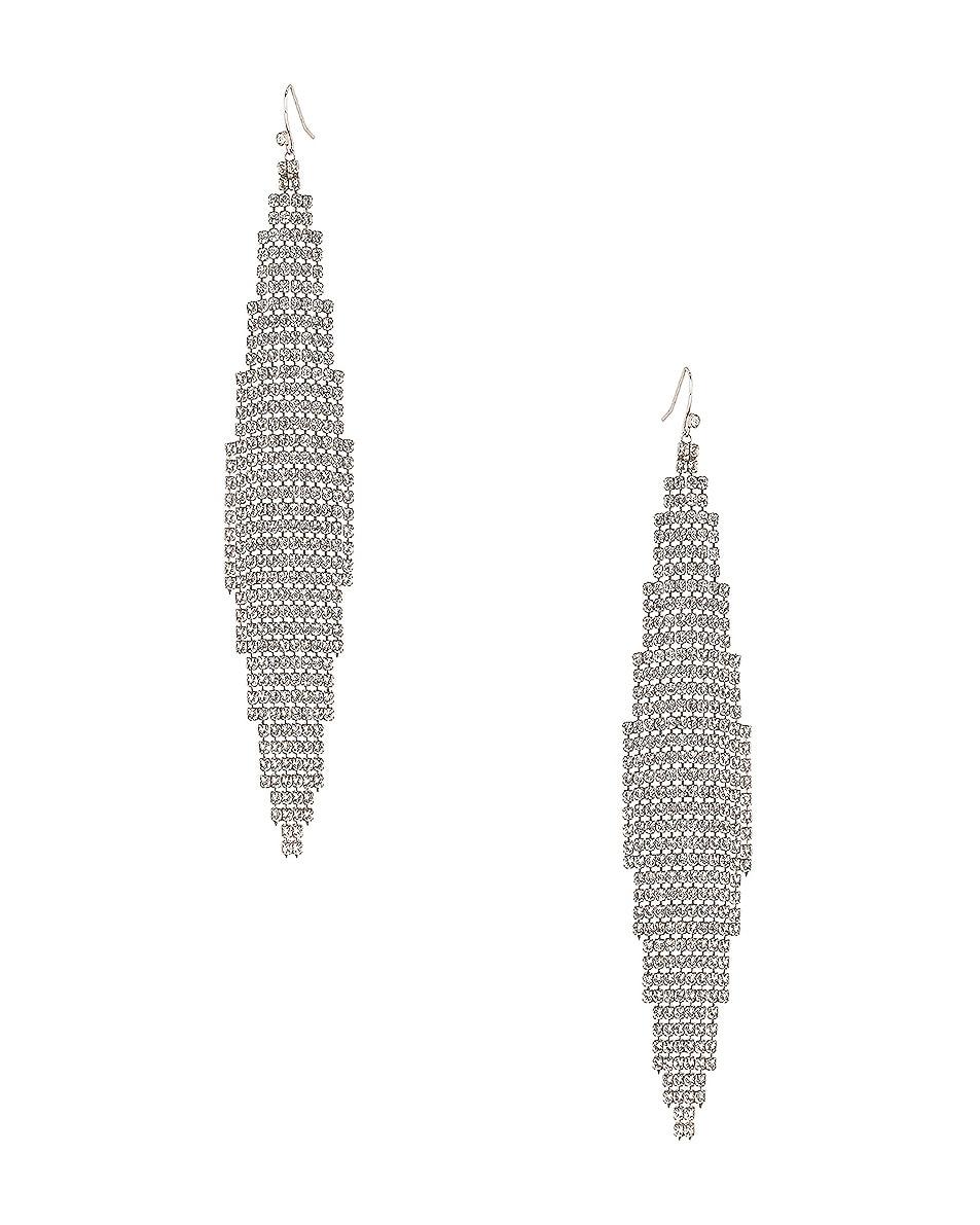 Image 1 of Saint Laurent Mesh Chandelier Earrings in Silver & Crystal