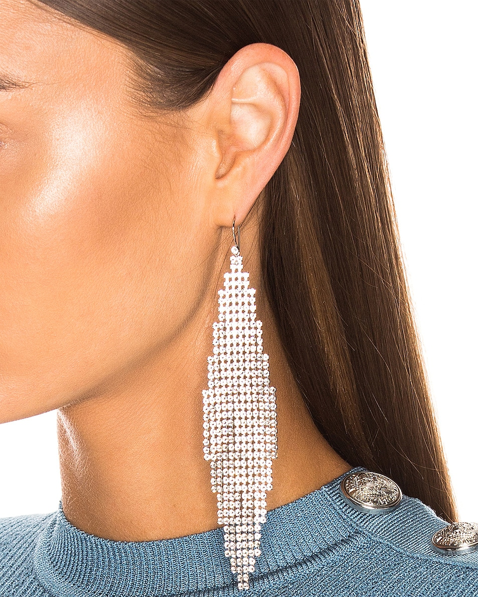 Image 2 of Saint Laurent Mesh Chandelier Earrings in Silver & Crystal