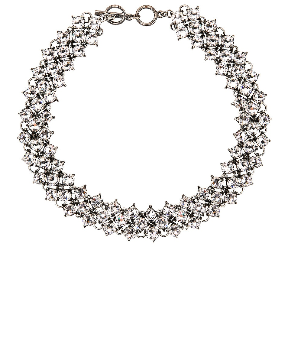 Image 1 of Saint Laurent Crystal Mesh Collar Necklace in Silver & Crystal