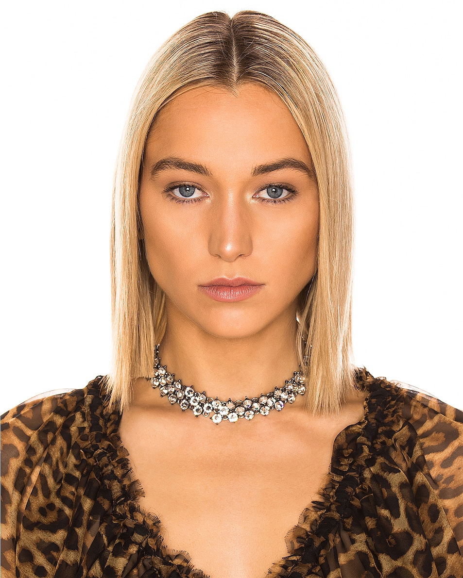 Image 2 of Saint Laurent Crystal Mesh Collar Necklace in Silver & Crystal