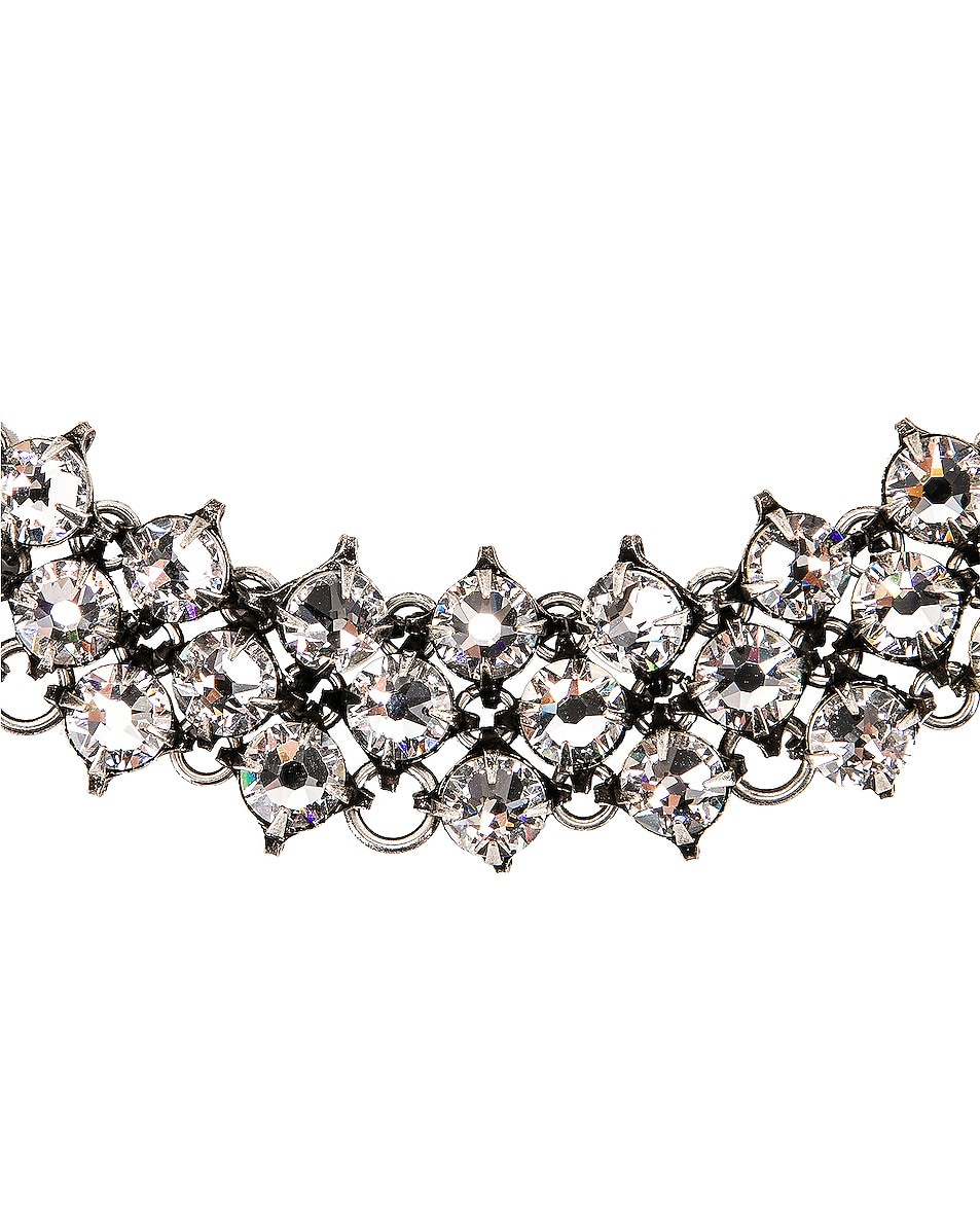 Image 3 of Saint Laurent Crystal Mesh Collar Necklace in Silver & Crystal