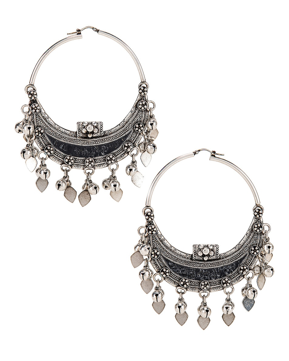Image 1 of Saint Laurent Oversized Demi Lune Earrings in Oxidized Silver & Black