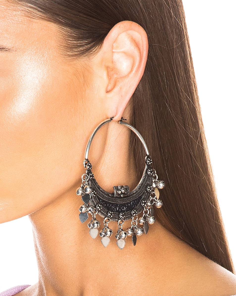 Image 2 of Saint Laurent Oversized Demi Lune Earrings in Oxidized Silver & Black