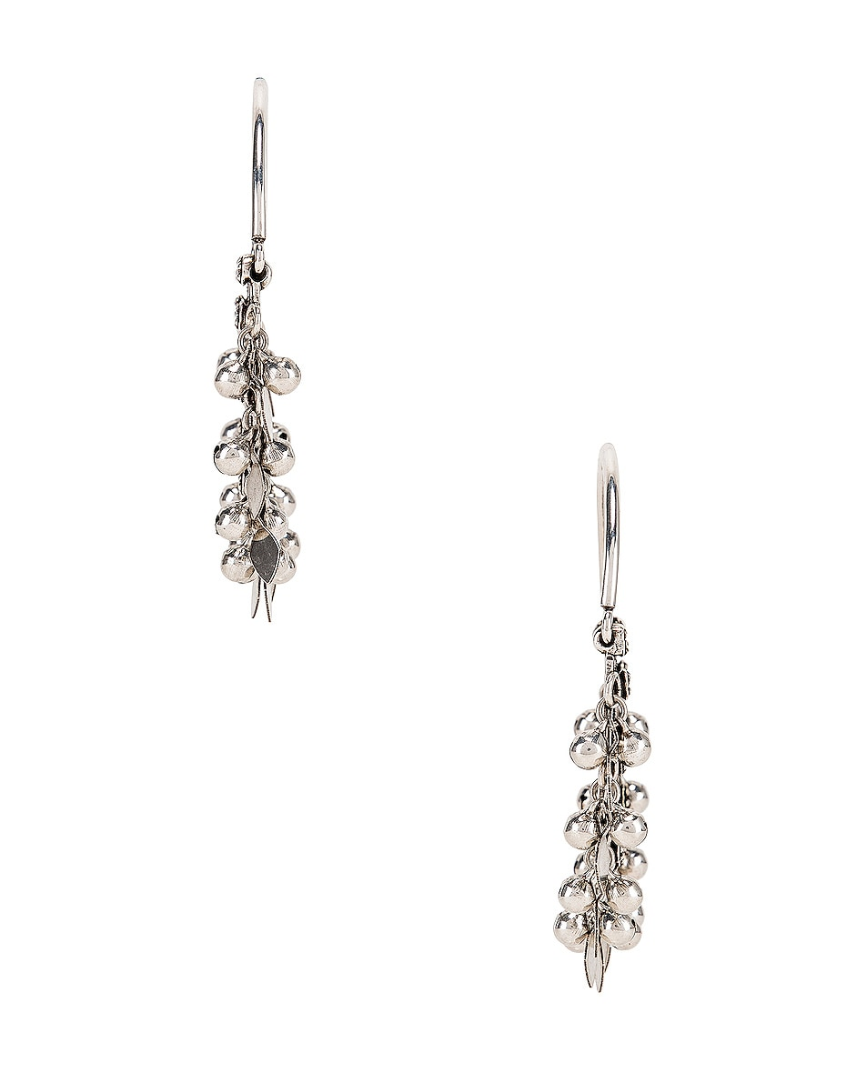 Image 3 of Saint Laurent Oversized Demi Lune Earrings in Oxidized Silver & Black