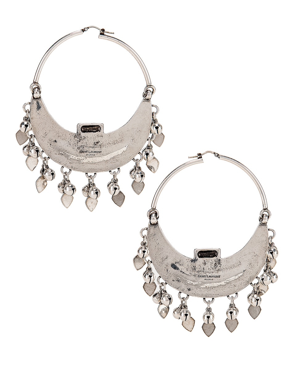 Image 4 of Saint Laurent Oversized Demi Lune Earrings in Oxidized Silver & Black