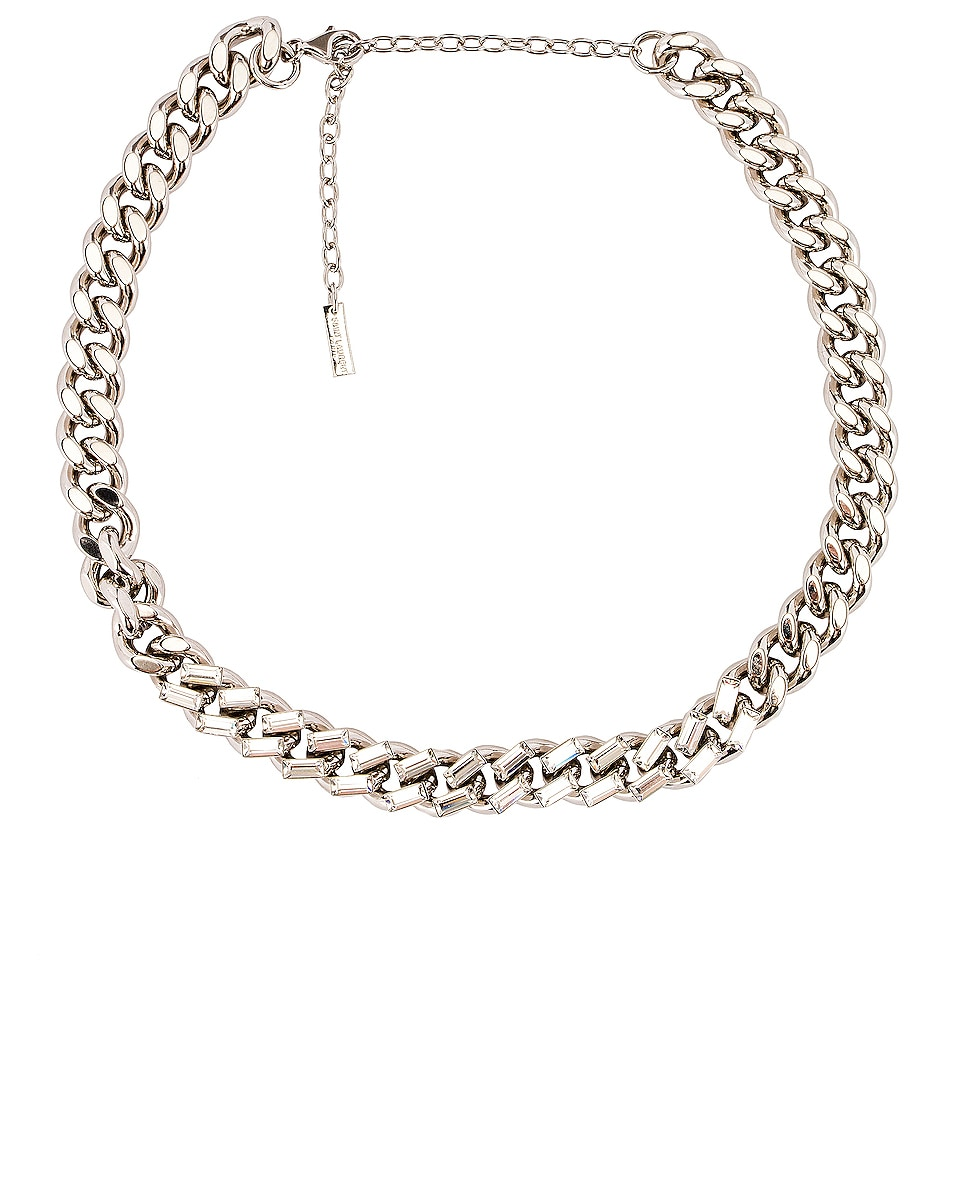Saint Laurent Chain Necklace Palladium & Crystal good