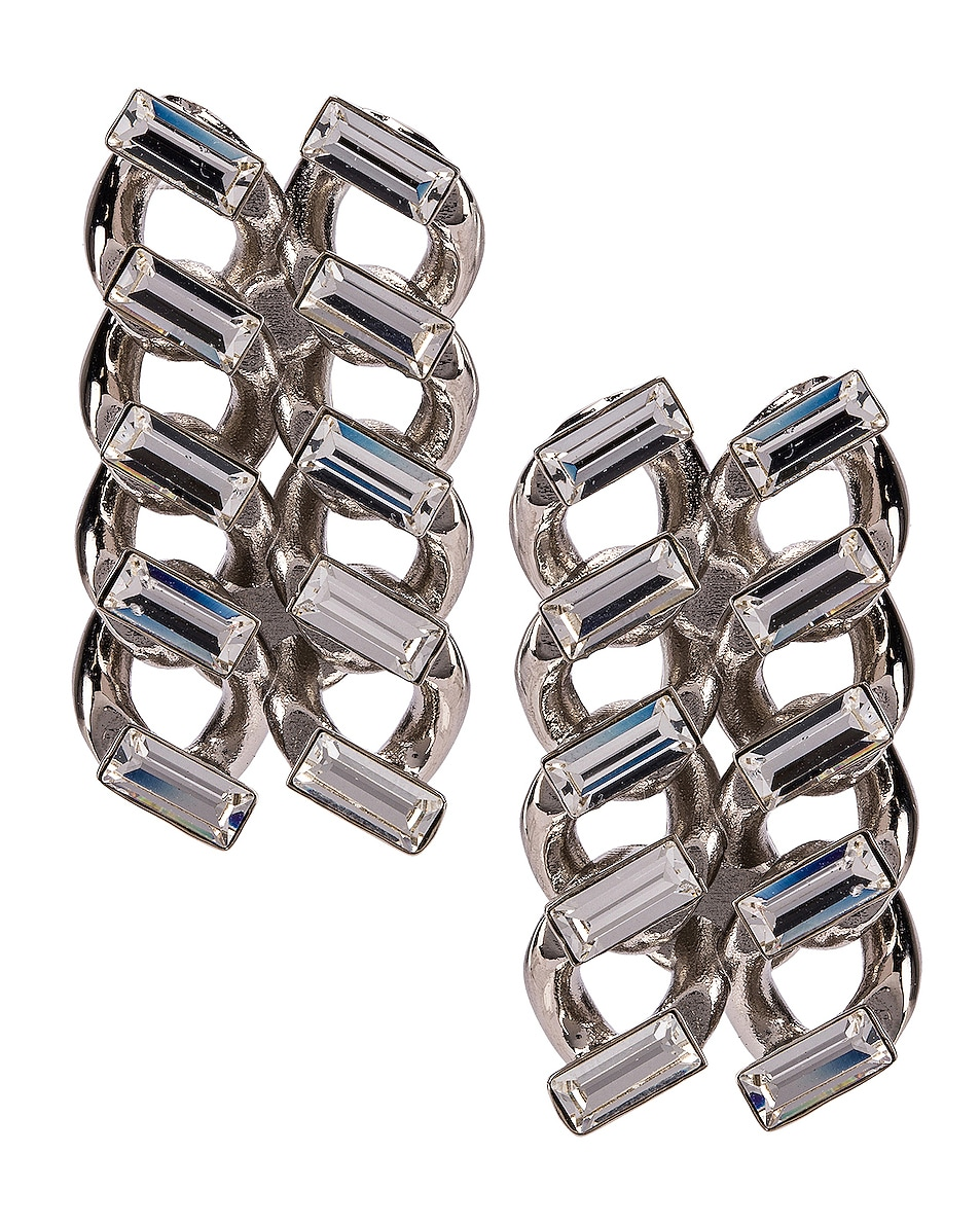 Image 1 of Saint Laurent Chain Clip Earrings in Palladium & Crystal