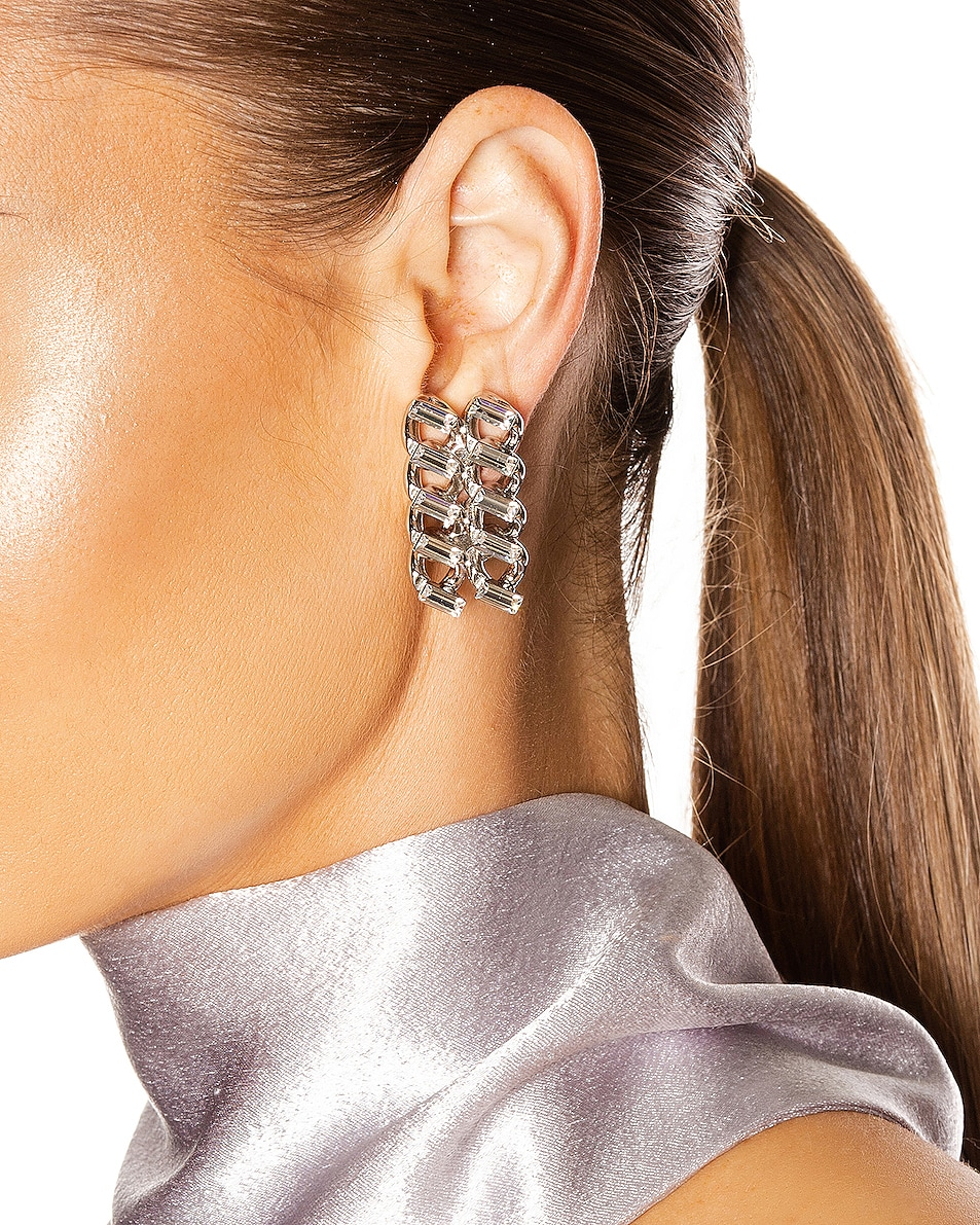 Image 2 of Saint Laurent Chain Clip Earrings in Palladium & Crystal