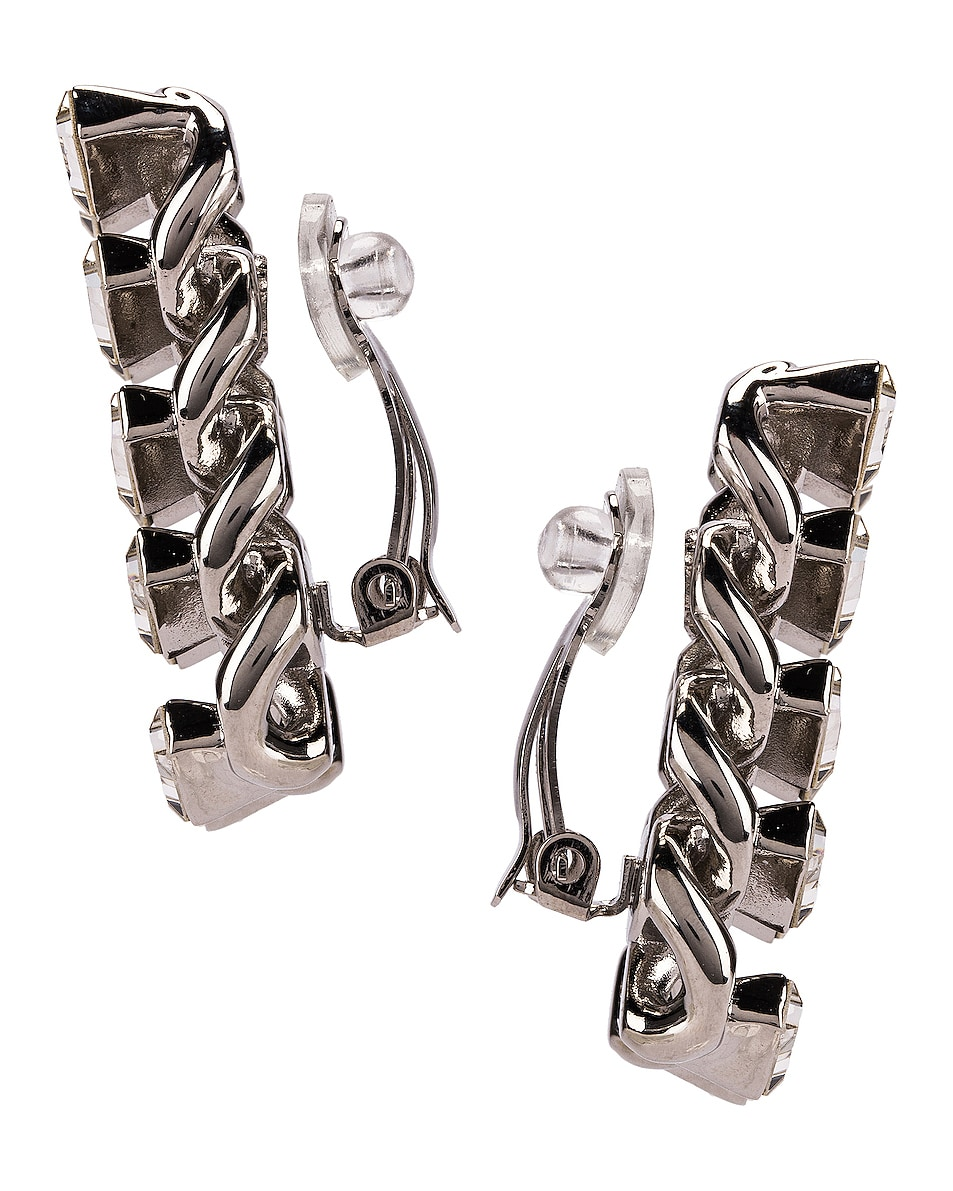 Image 3 of Saint Laurent Chain Clip Earrings in Palladium & Crystal