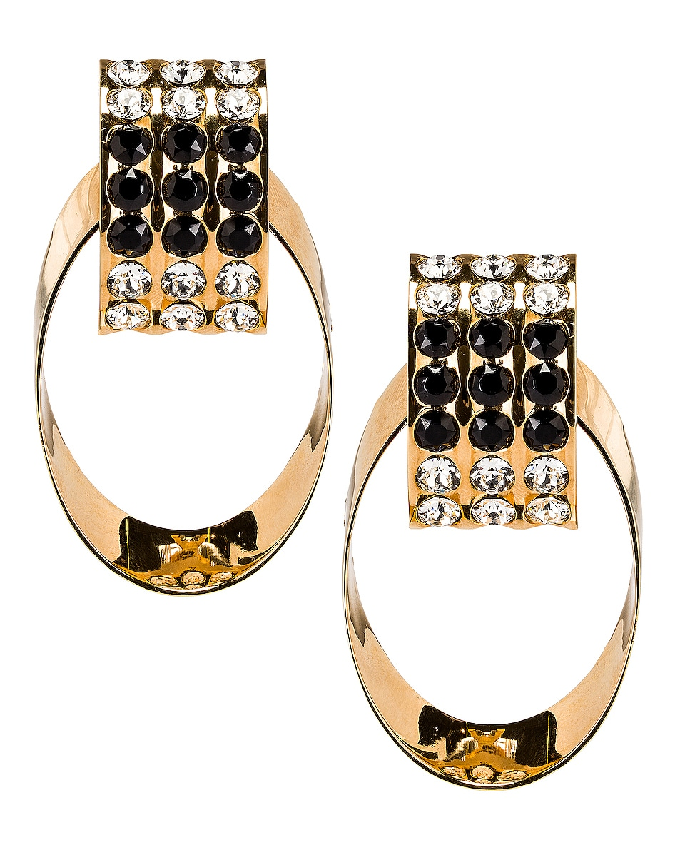 Image 1 of Saint Laurent Crystal Oval Earrings in Gold & Black