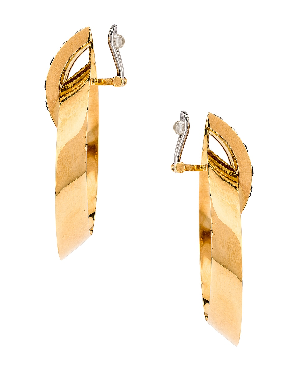 Image 2 of Saint Laurent Crystal Oval Earrings in Gold & Black