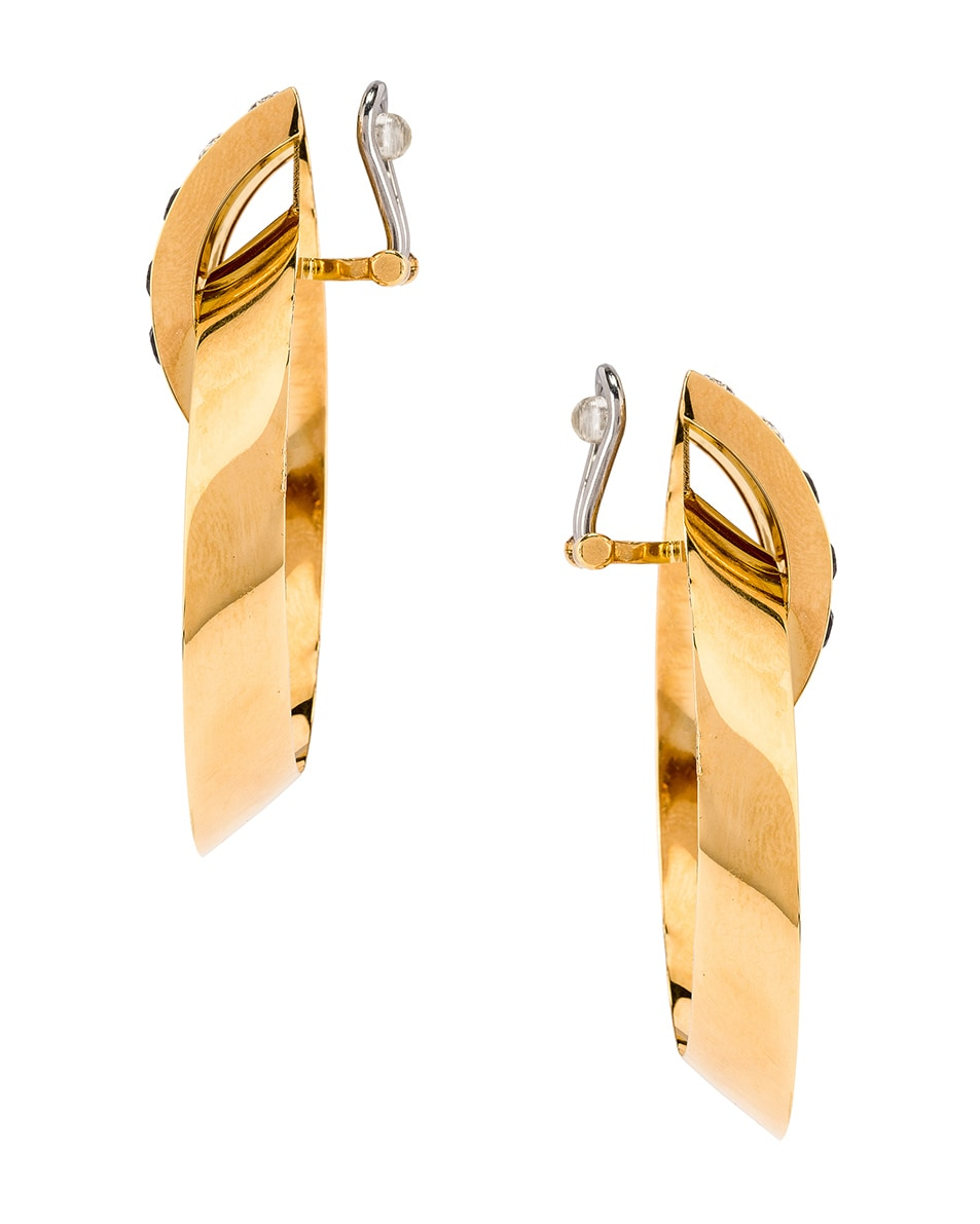 Image 3 of Saint Laurent Crystal Oval Earrings in Gold & Black