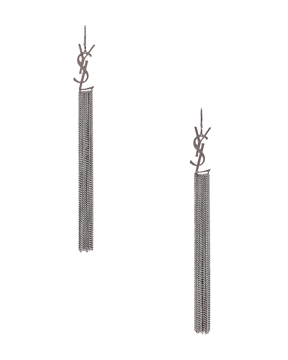 Image 1 of Saint Laurent Monogram Chain Earrings in Ruthenium