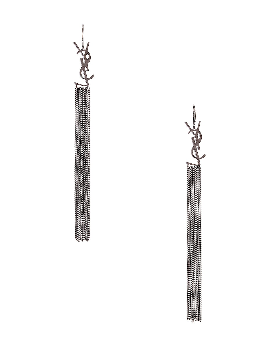 Image 4 of Saint Laurent Monogram Chain Earrings in Ruthenium