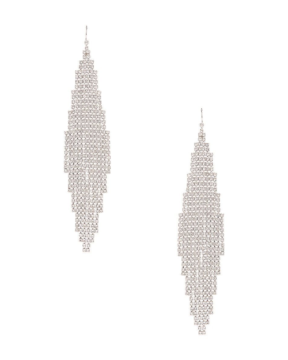 Image 1 of Saint Laurent Chandelier Earrings in Palladium & Crystal