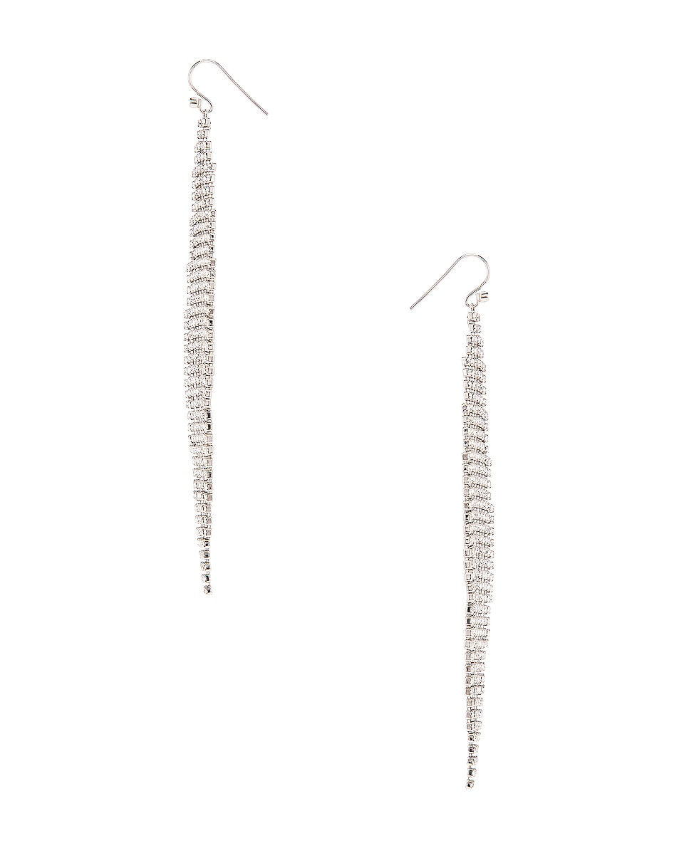 Image 2 of Saint Laurent Chandelier Earrings in Palladium & Crystal