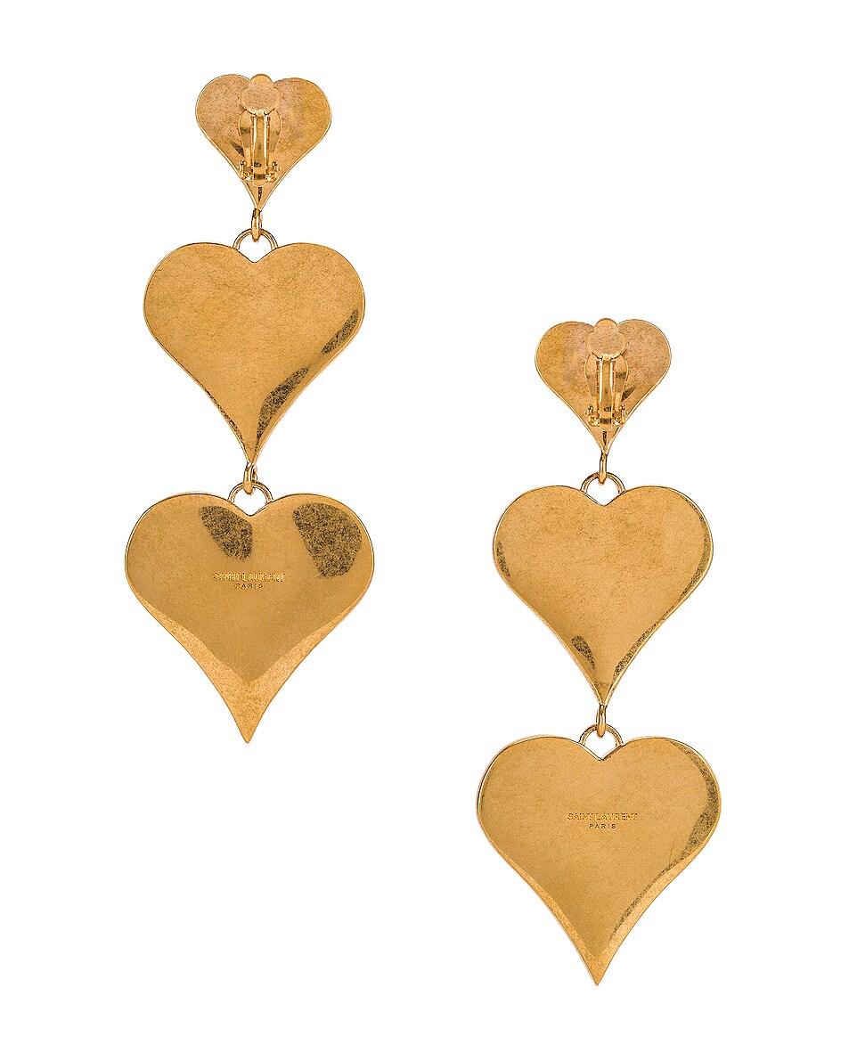 Image 4 of Saint Laurent Heart Earrings in Black