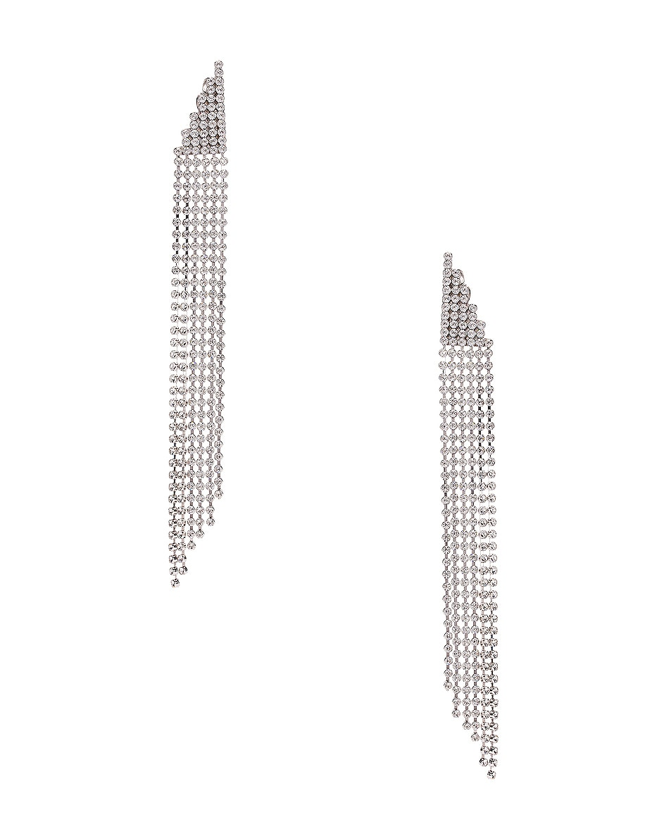 Image 1 of Saint Laurent Cascade Earrings in Palladium & Crystal