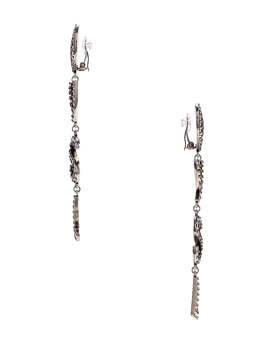 Image 3 of Saint Laurent Logo Earrings in Oxidized Silver & Crystal