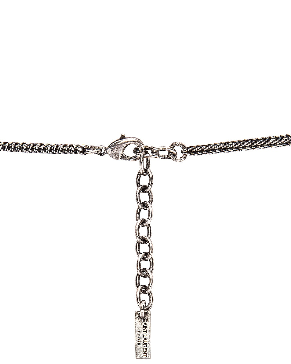 Image 3 of Saint Laurent Logo Pendant Necklace in Oxidized Silver & Black