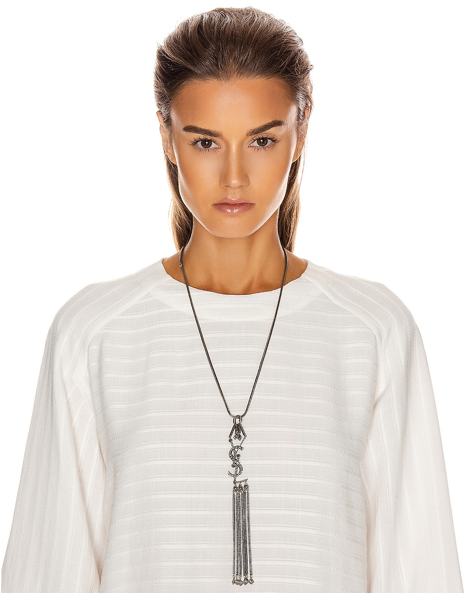 Image 4 of Saint Laurent Logo Pendant Necklace in Oxidized Silver & Black