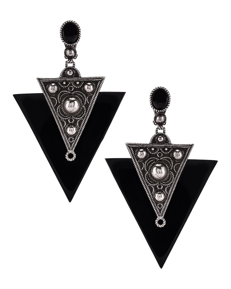Image 1 of Saint Laurent Marrakech Triangle Earrings in Oxidized Silver & Black