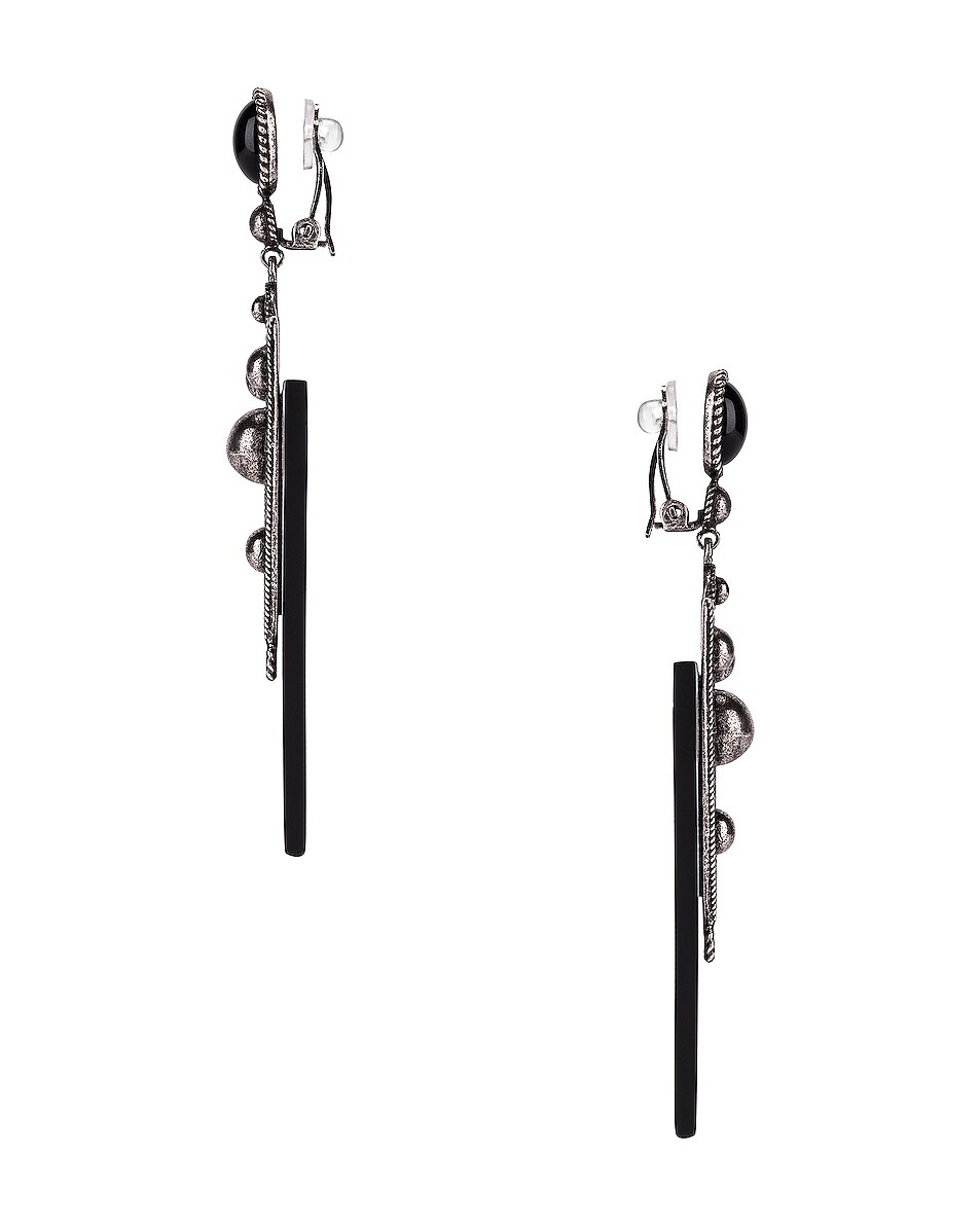 Image 3 of Saint Laurent Marrakech Triangle Earrings in Oxidized Silver & Black