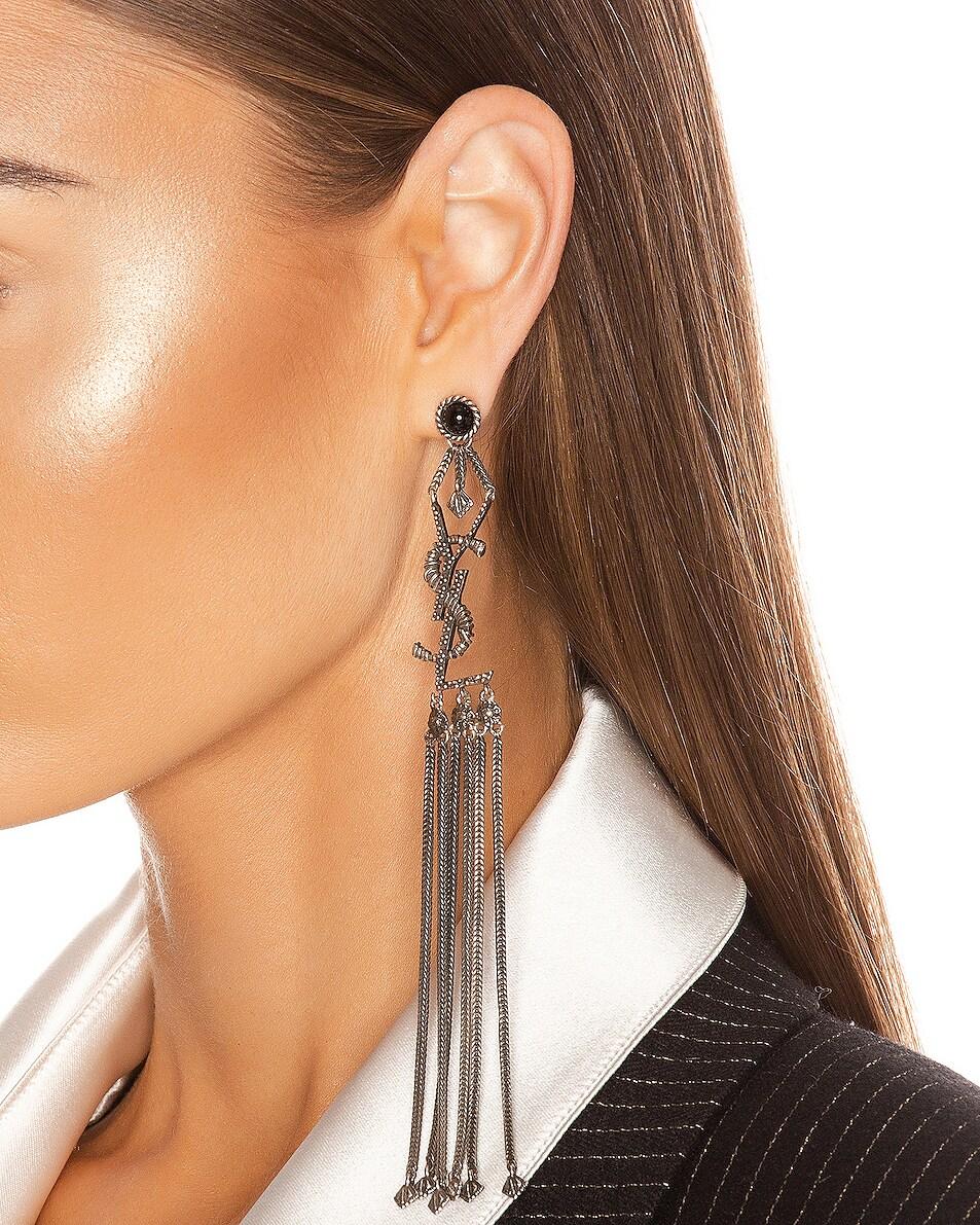 Image 2 of Saint Laurent Logo Earrings in Oxidized Silver & Black