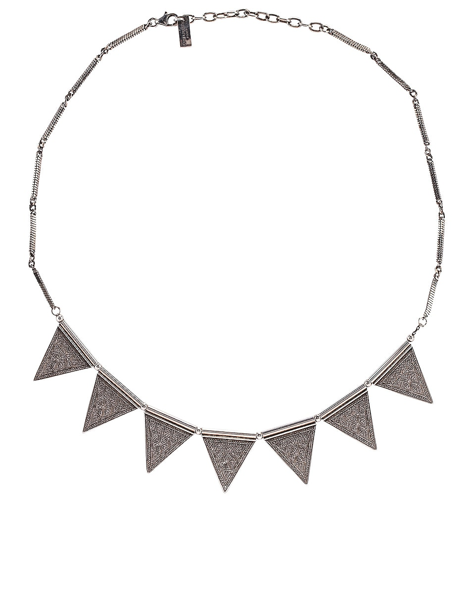 Image 1 of Saint Laurent Triangle Necklace in Oxidized Silver