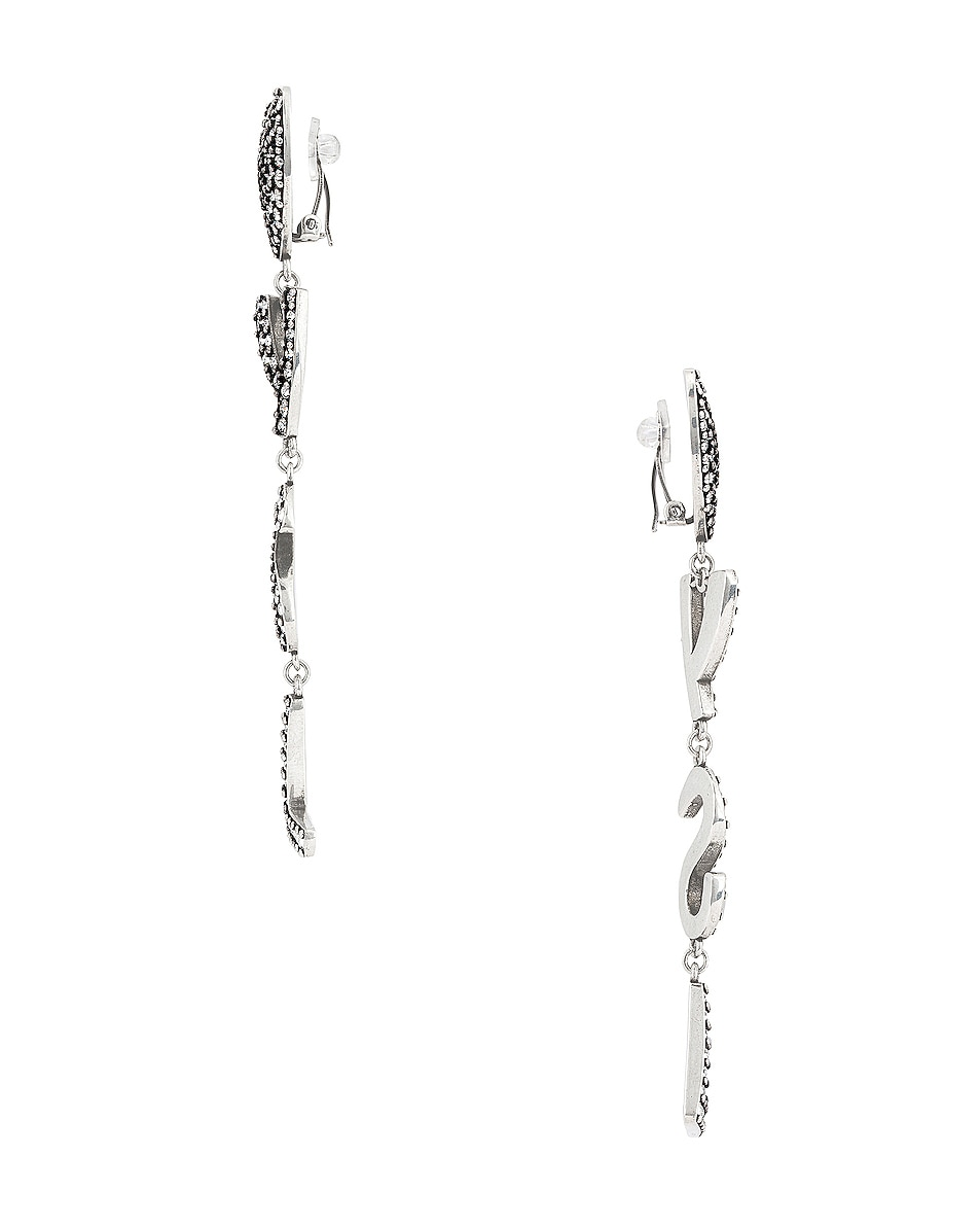 Image 3 of Saint Laurent Bo Coeur YSL Earrings in Argent Oxyde/Crystal