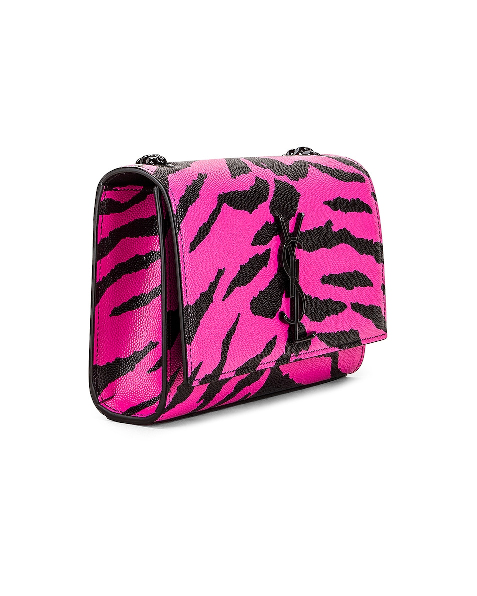 Image 4 of Saint Laurent Small Tiger Monogramme Kate Crossbody Bag in Fuchsia & Black