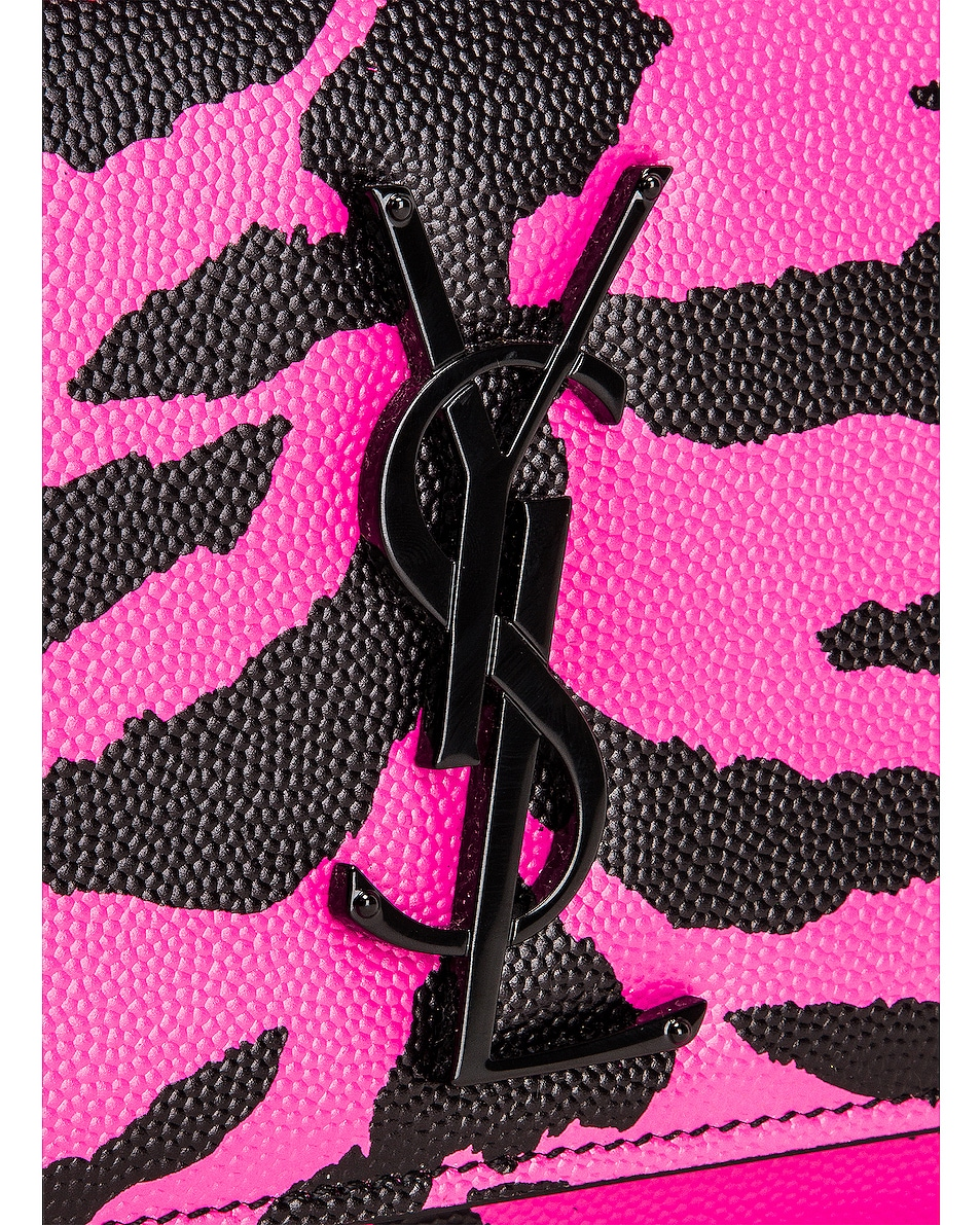 Image 8 of Saint Laurent Small Tiger Monogramme Kate Crossbody Bag in Fuchsia & Black