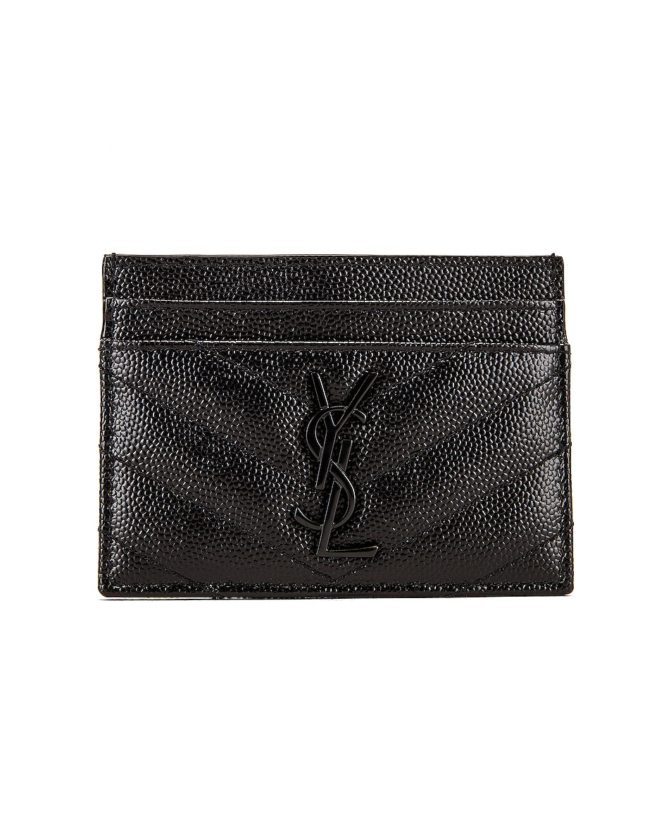 Image 1 of Saint Laurent Monogramme Card Case in Black