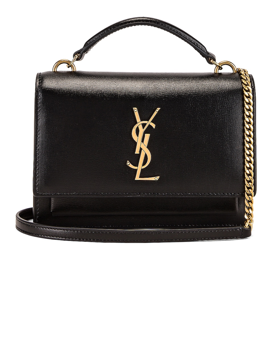 Image 1 of Saint Laurent Sunset Monogramme Crossbody Bag in Black