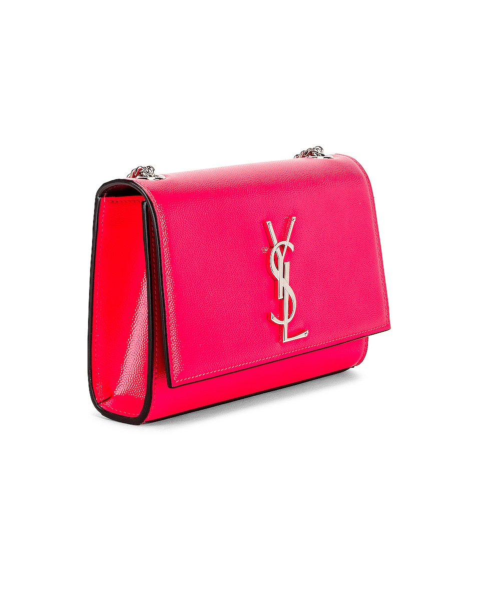 Image 4 of Saint Laurent Monogramme Kate Crossbody Bag in Neon Pink
