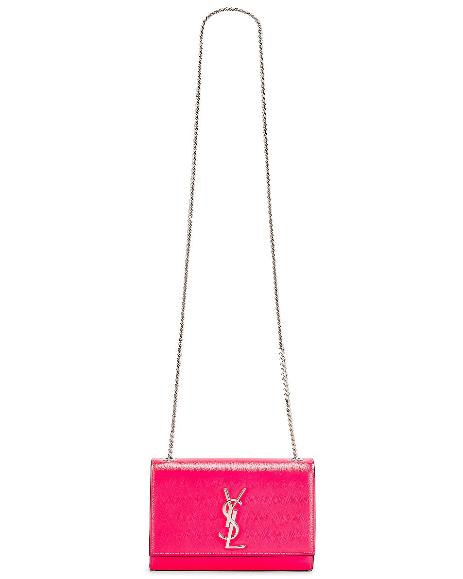 Image 6 of Saint Laurent Monogramme Kate Crossbody Bag in Neon Pink