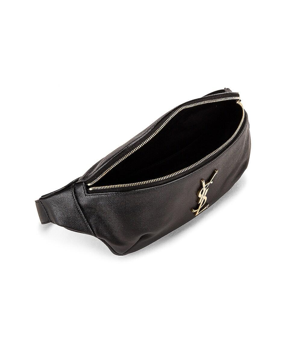 Image 4 of Saint Laurent Classic Leather Monogramme Belt Bag in Black