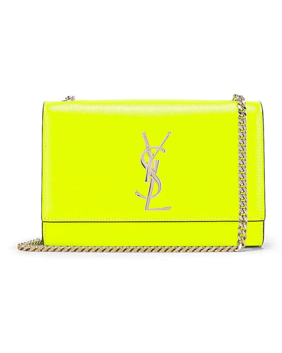 Image 1 of Saint Laurent Monogramme Kate Crossbody Bag in Neon Yellow
