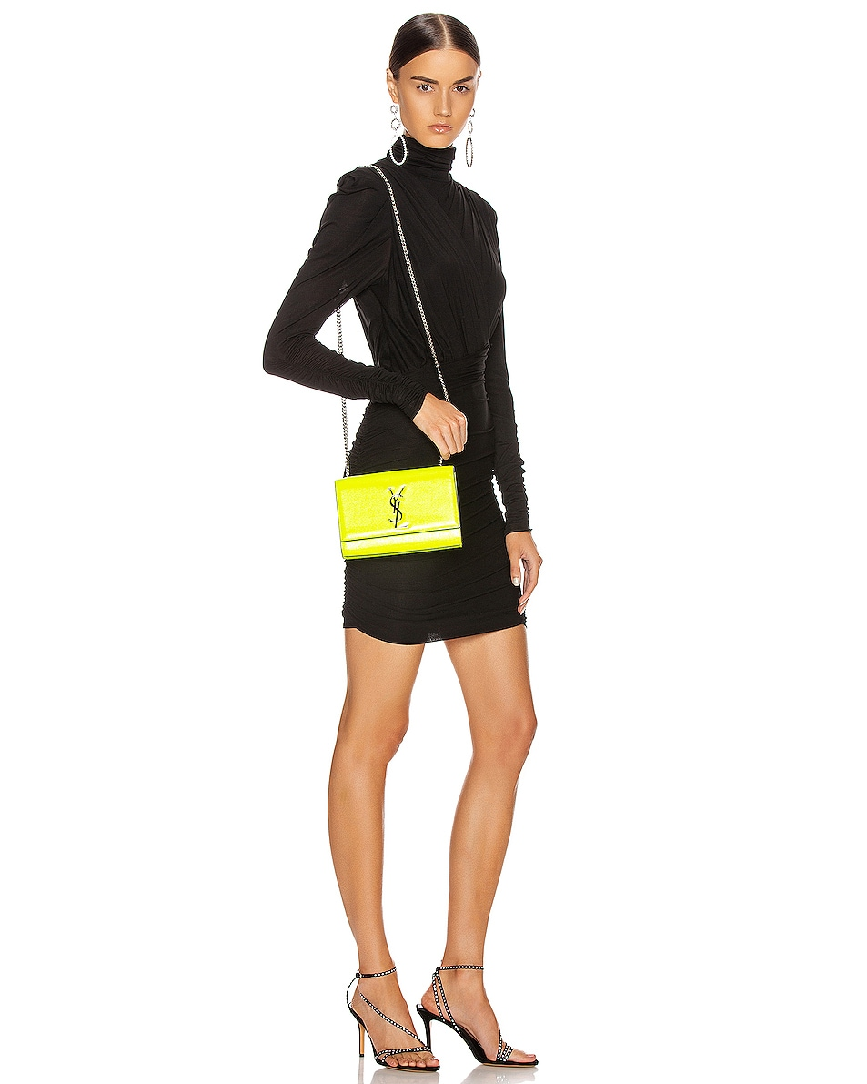 Image 2 of Saint Laurent Monogramme Kate Crossbody Bag in Neon Yellow