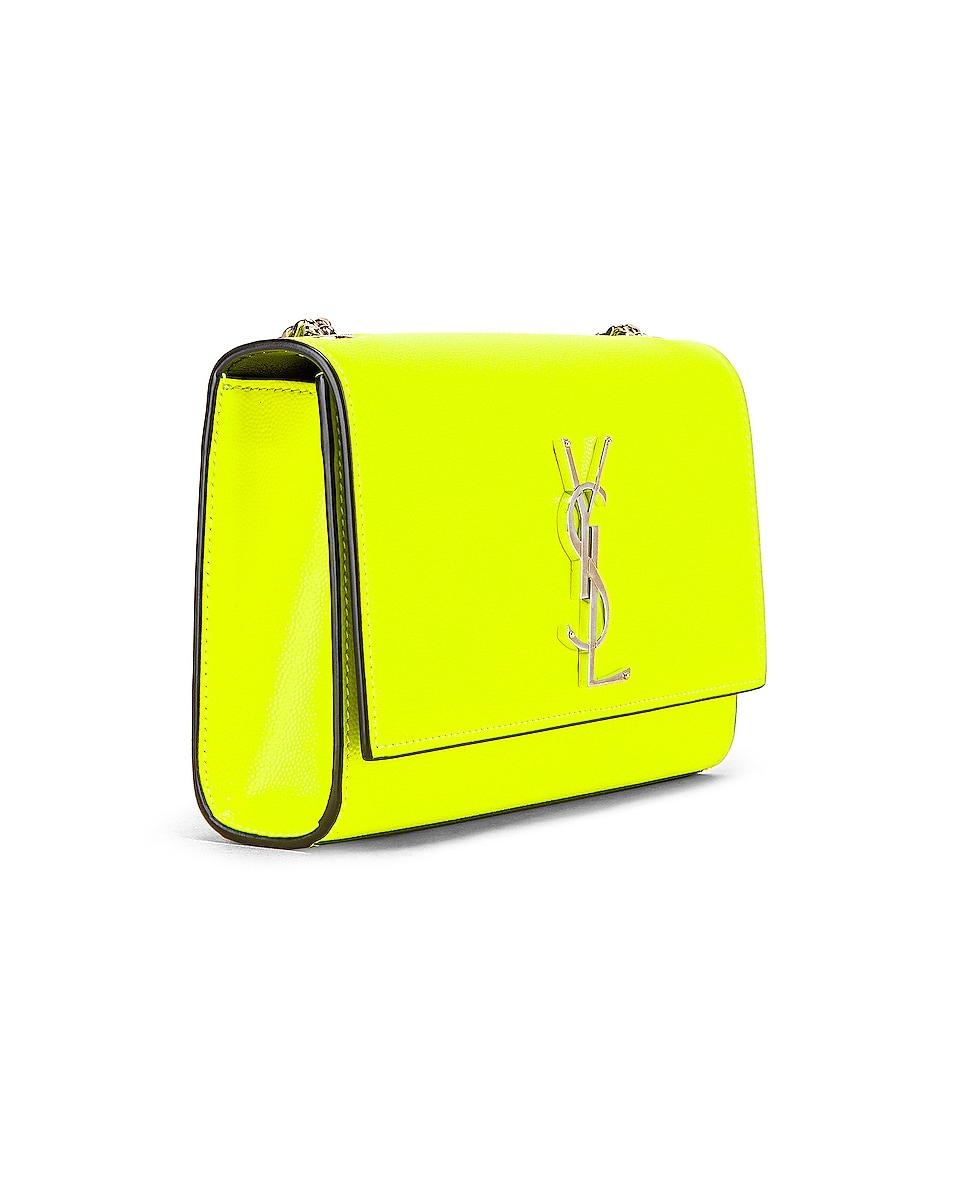 Image 4 of Saint Laurent Monogramme Kate Crossbody Bag in Neon Yellow