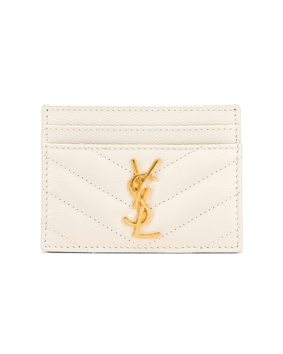 Image 1 of Saint Laurent Monogramme Quilted Credit Card Case in Crema Soft
