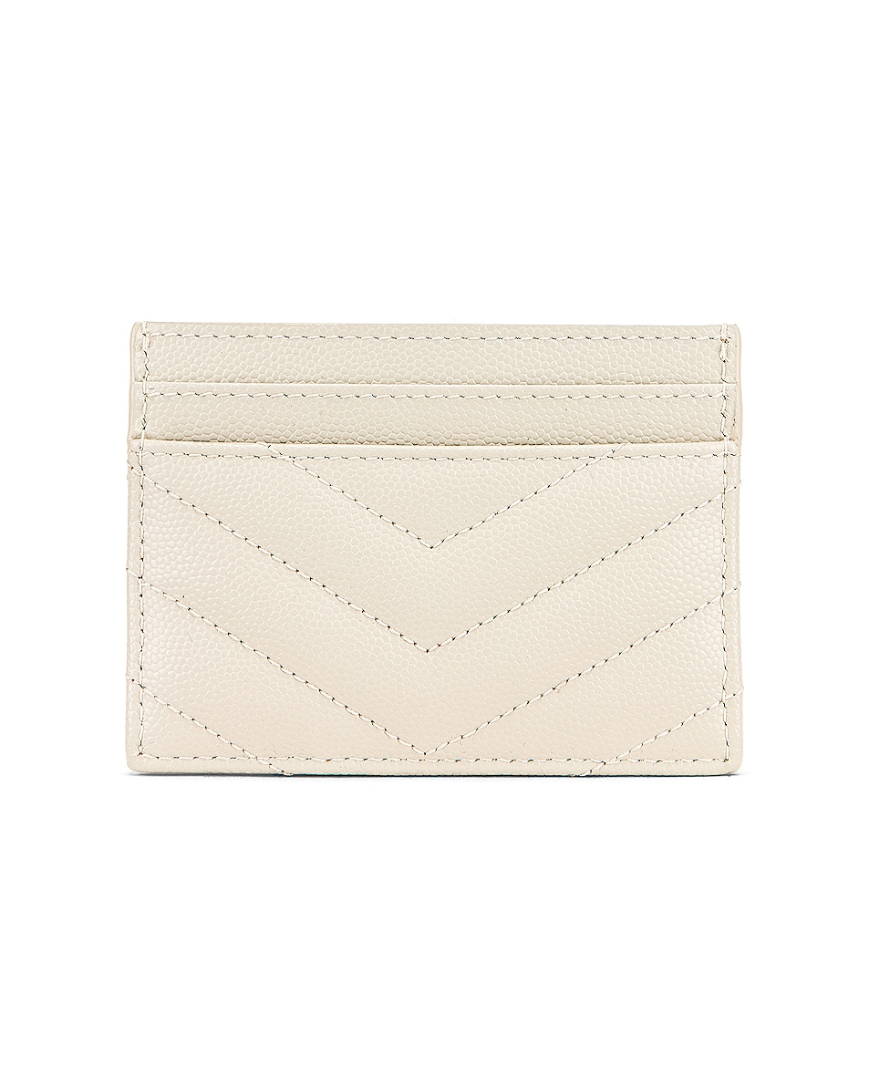 Image 2 of Saint Laurent Monogramme Quilted Credit Card Case in Crema Soft