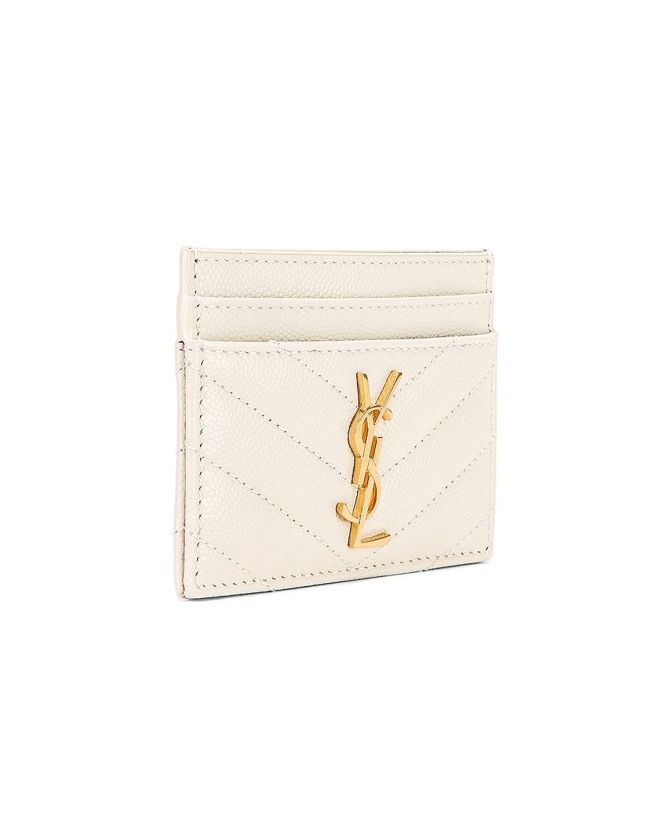 Image 3 of Saint Laurent Monogramme Quilted Credit Card Case in Crema Soft