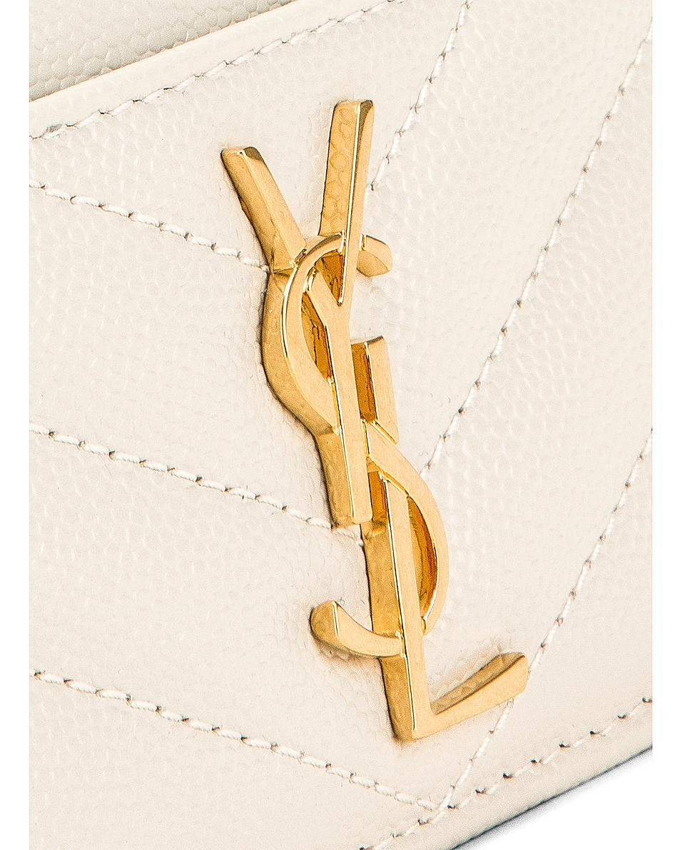 Image 6 of Saint Laurent Monogramme Quilted Credit Card Case in Crema Soft