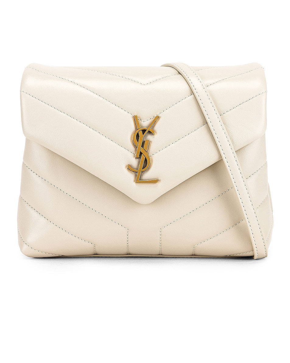 Image 1 of Saint Laurent Toy Supple Monogramme Loulou Strap Bag in Crema Soft